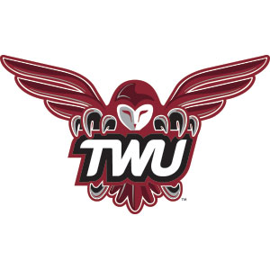 Athletics logo, owl holding TWU