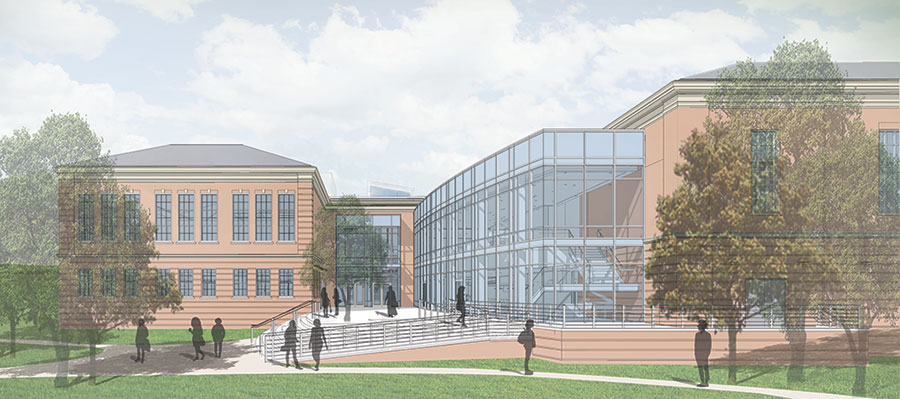 Artist's rendering of the proposed new Student Union building, West Entrance view