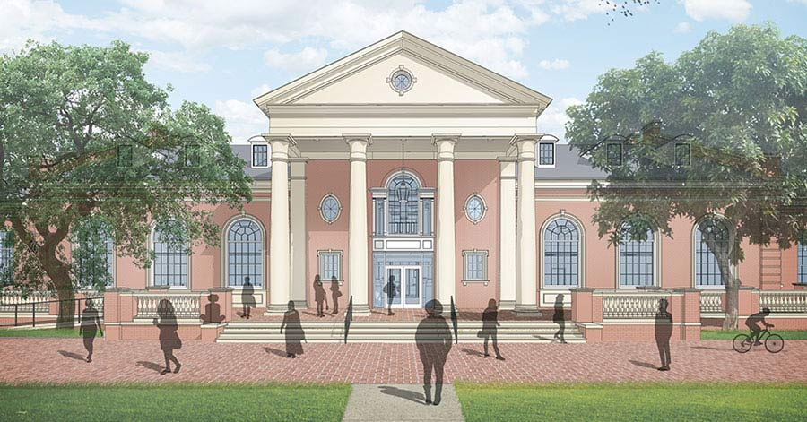 Draft rendering of new Student Union East Entrance. Provided courtesy of Hahnfeld Hoffer Stanford and Cannon Design.