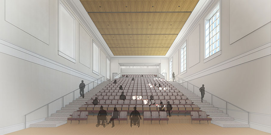 Draft rendering of new Student Union Auditorium. Provided courtesy of Hahnfeld Hoffer Stanford and Cannon Design.