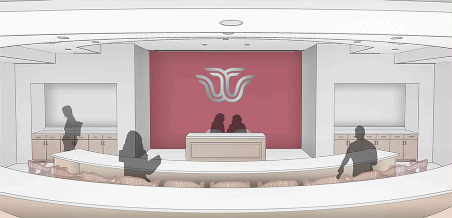Draft rendering of Student Government Association Chamber in new Student Union. Provided courtesy of Hahnfeld Hoffer Stanford and Cannon Design.