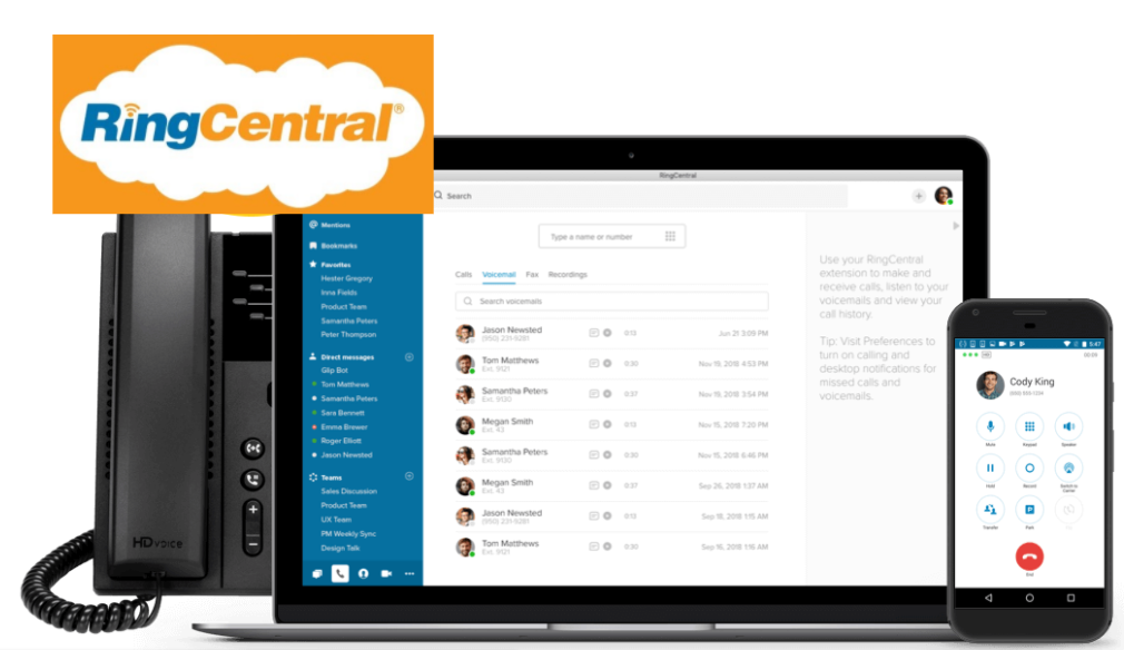 A phone, laptop, and mobile devices with the RingCentral logo