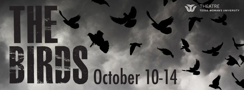 'The Birds' banner with black and white birds in silhouette and Oct. 10-14 date