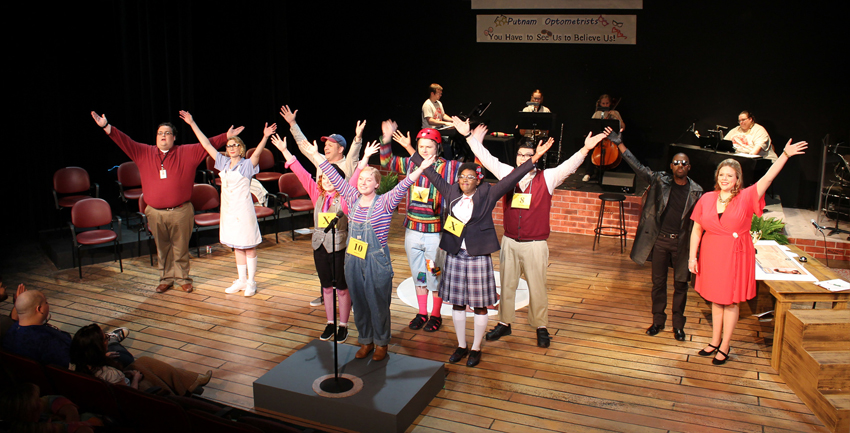 Actors performing The 25th Annual Putnam County Spelling Bee.