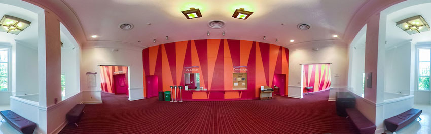 Thumbnail of a panoramic photo of the Redbud Theater lobby