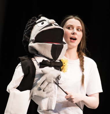 TWU student operates a puppet