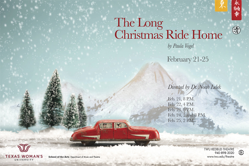 Poster image for The Long Christmas Ride Home featuring car in winter landscape and Chinese script