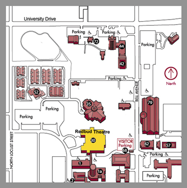 Map of parking areas near Redbud Theater