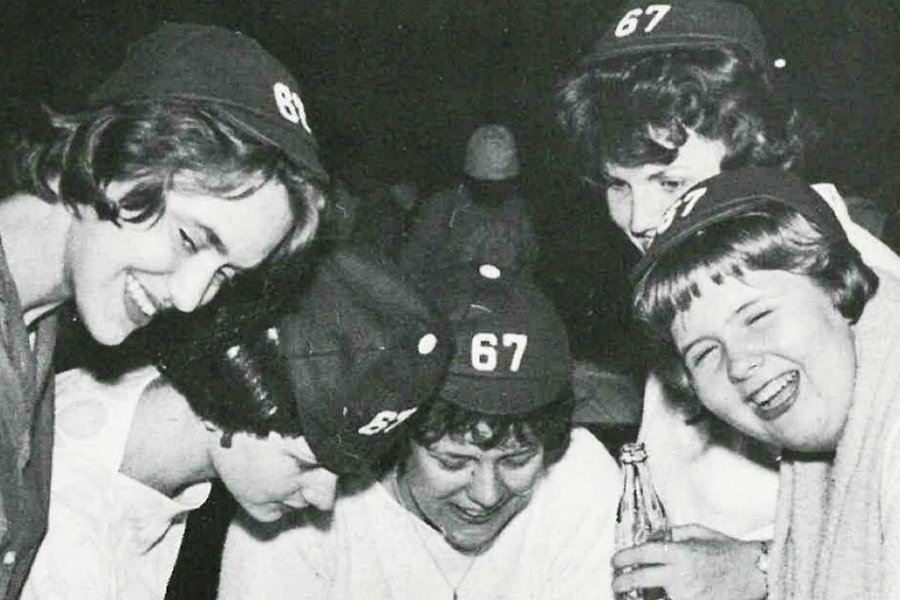 A vintage photograph of TWU students from the 1960's celebrating homecoming.
