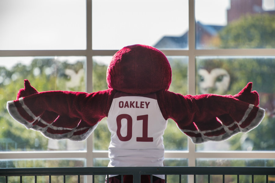 Oakley the owl with his arms outstretched and wearing a jersey that says 'Oakley 01' on it.