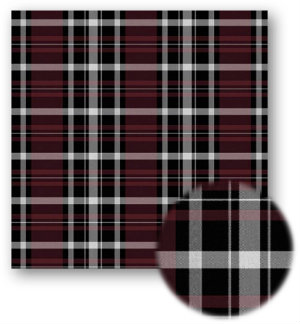 A swatch of plaid with mainly maroon and black stripes with small white stripes in between.