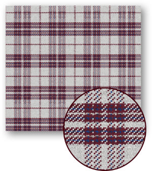 A swatch of plaid striping with large maroon and white stripes with small blue strips in the maroon.