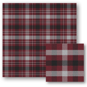 A swatch of maroon plaid with large black and white stripes.