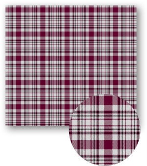 A swatch of plaid with large maroon and white stripes with smaller black stripes in between.