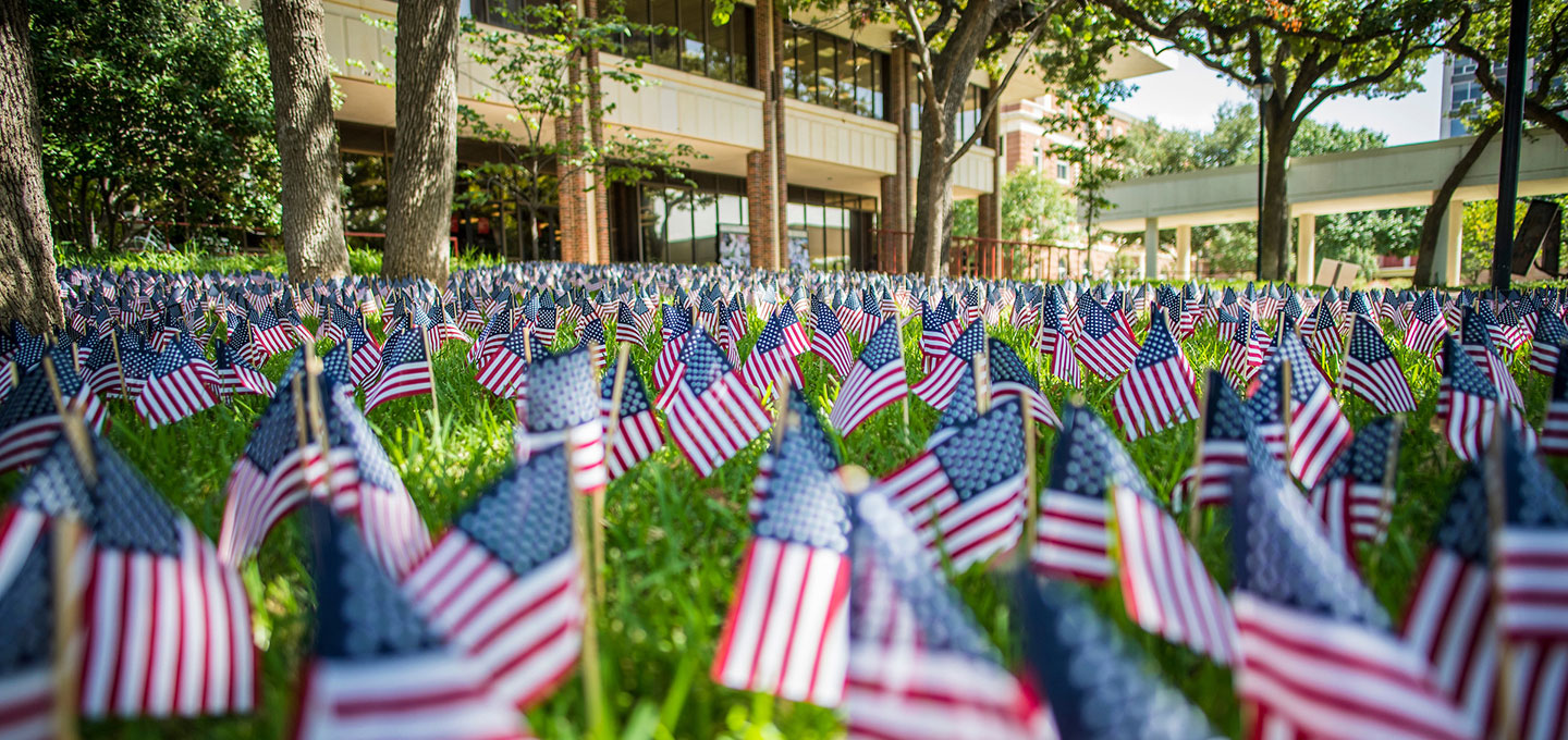 United States flags planted in TWU's free speech area