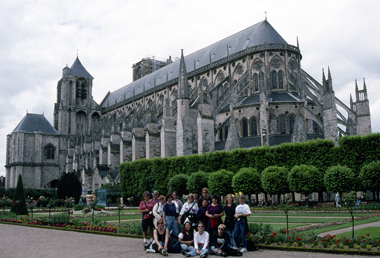 TWU art history students visiting the Bourges Cathedral in France.