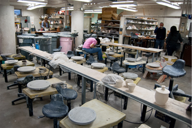 Student working in ceramics facility