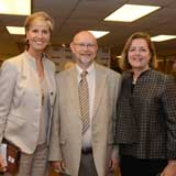 Drs. Feyten and Miller with the President of the TWU Board of Regents